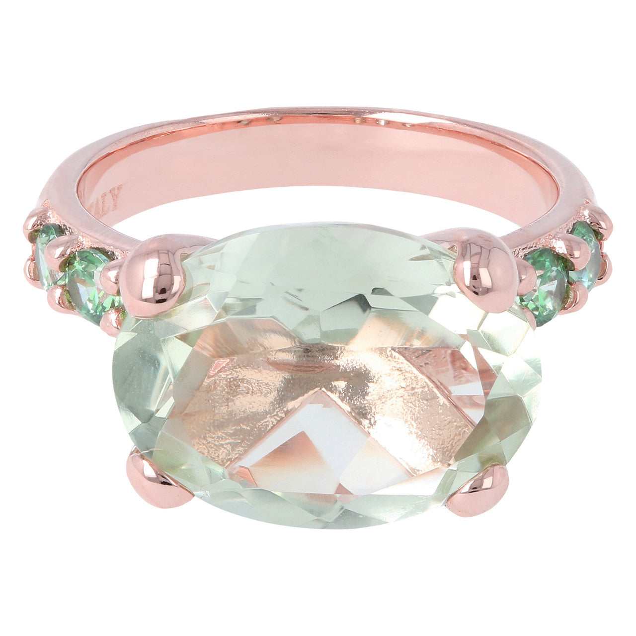 Rose Gold Plated Ring GREEN AMETHYST setting