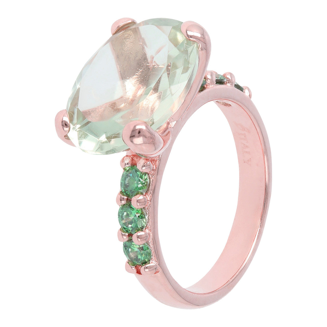 Rose Gold Plated Ring GREEN AMETHYST