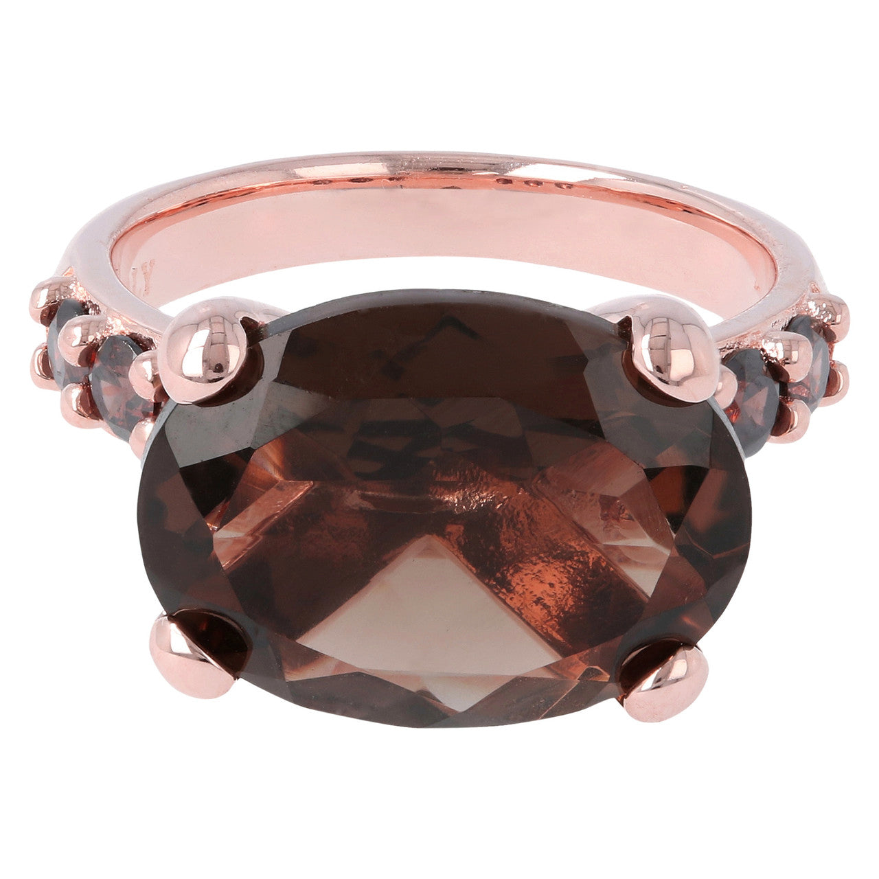 Rose Gold Plated Ring SMOKY QUARTZ setting