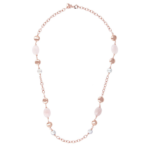 Rose Quartz and Pearl Necklace from above