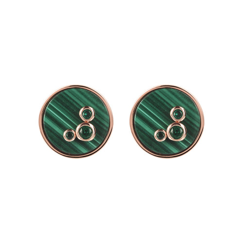 Round Disc Earrings  MALACHITE