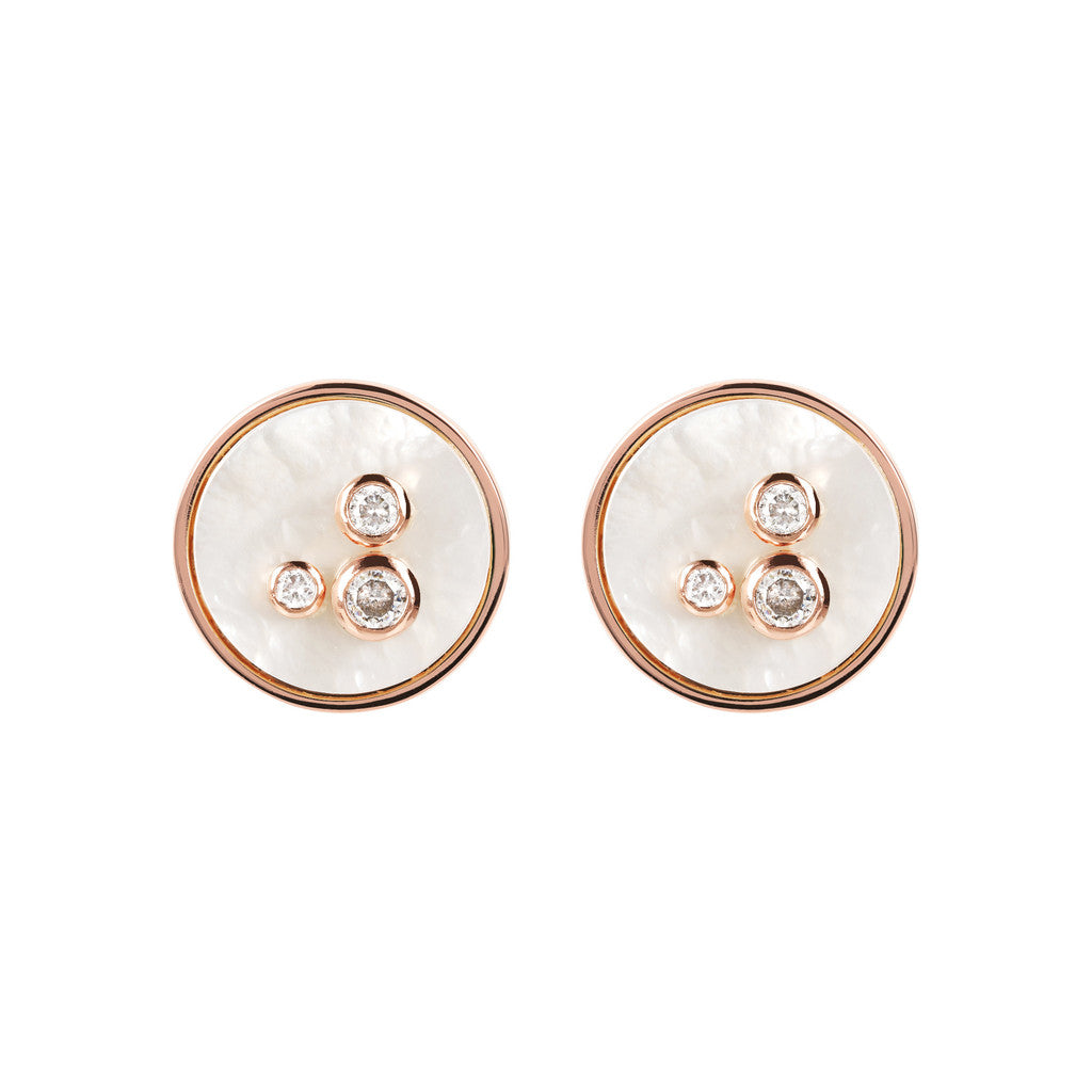 Round Disc Earrings  WHITE MOP