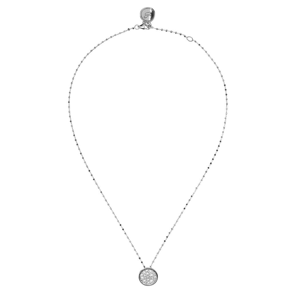 Round Pave Charm Necklace Luna CUBIC ZIRCONIA from above