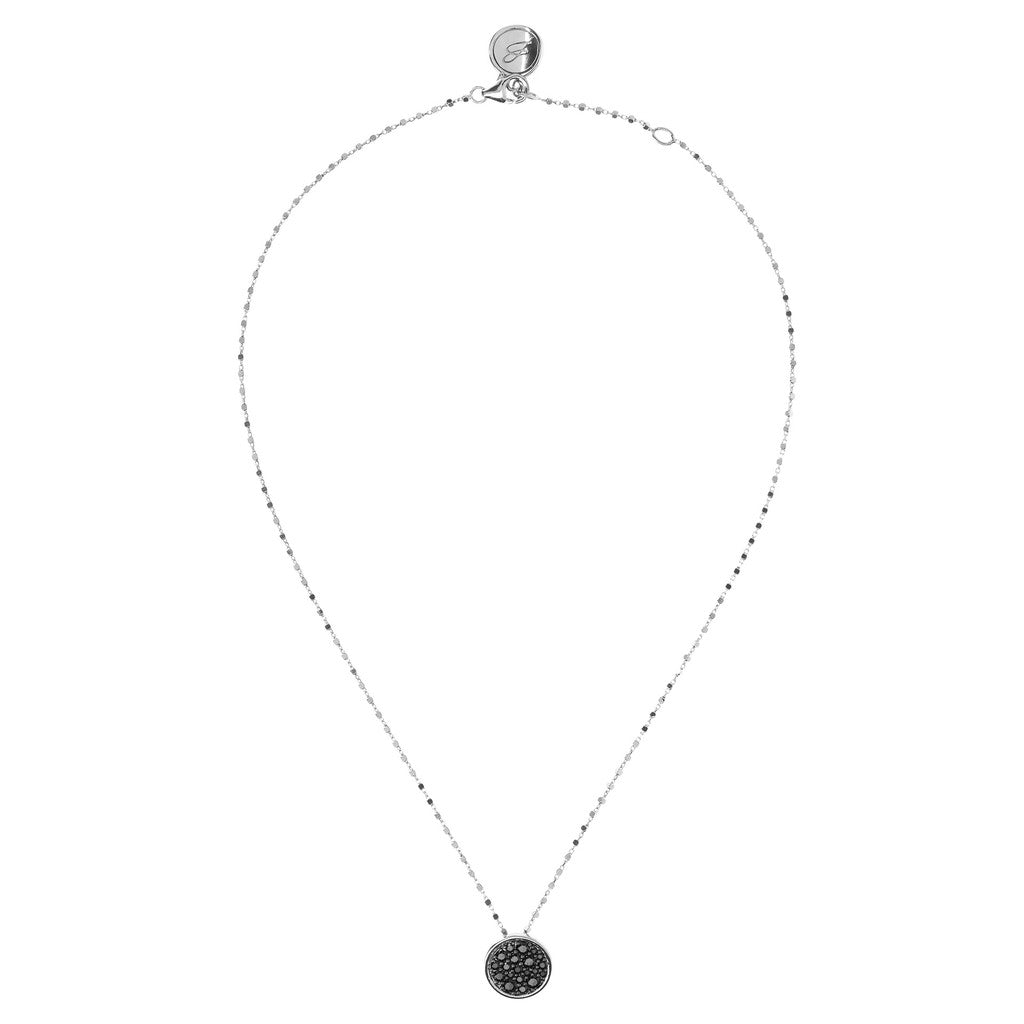 Round Pave Charm Necklace Luna from above