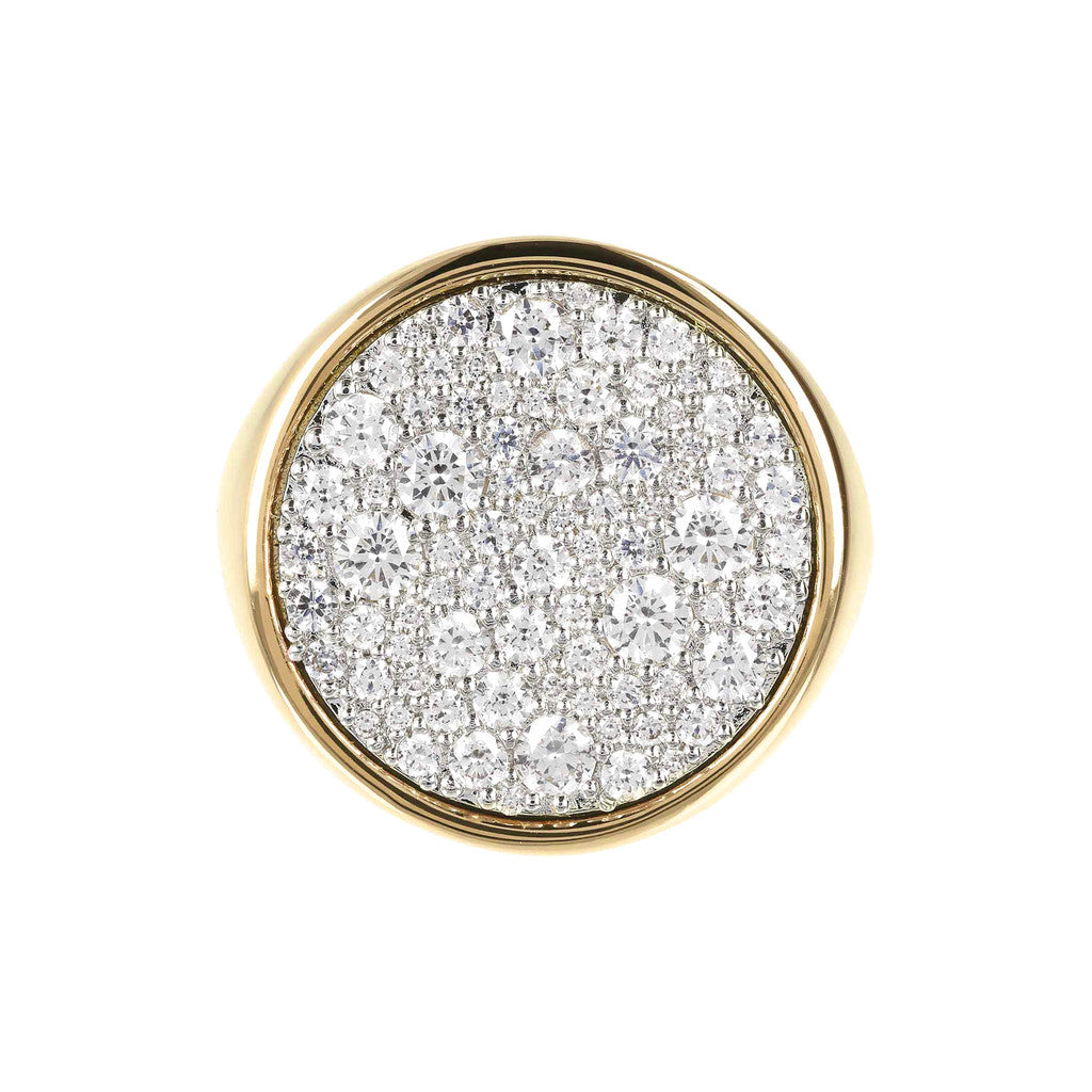 Round Seal Ring Bronzallure Yellow Gold Flat setting