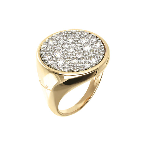 Round Seal Ring Bronzallure Yellow Gold Flat