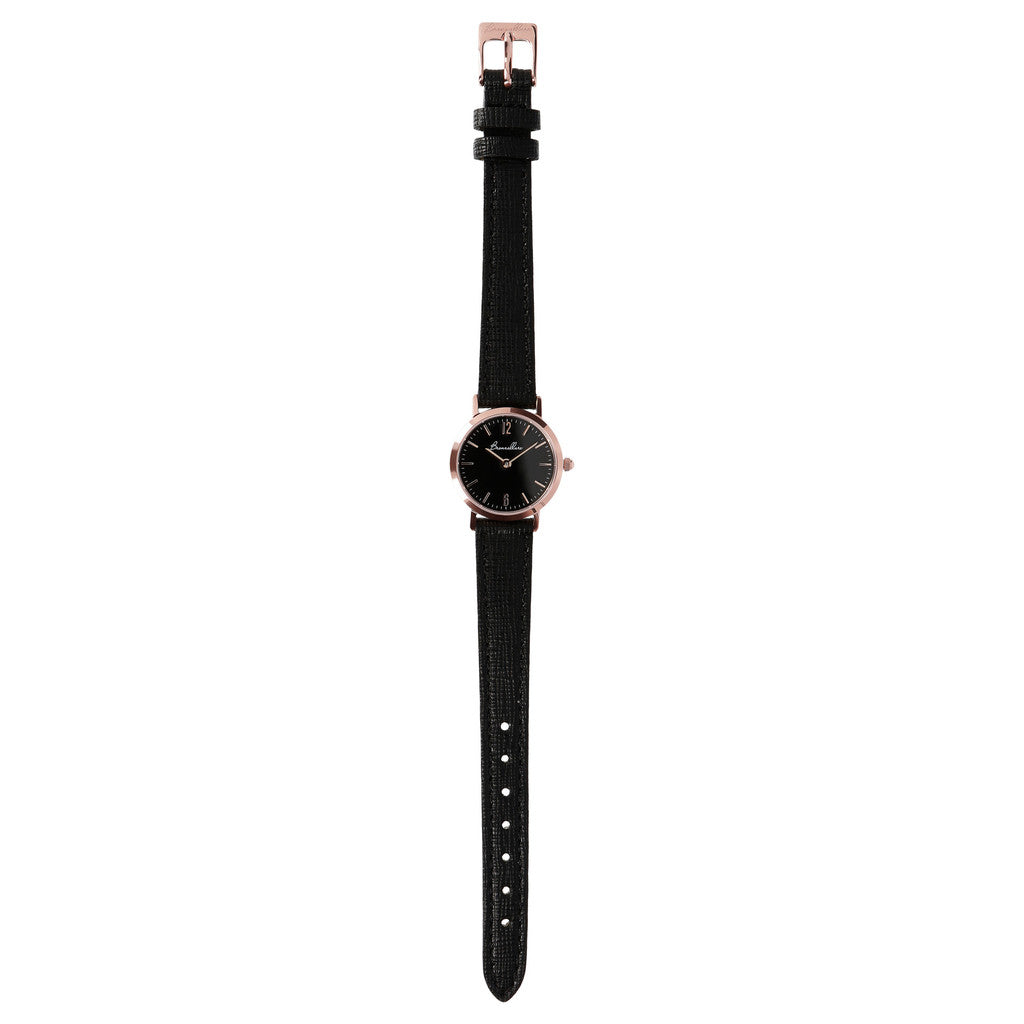 Round Watch Black Dial bracelet