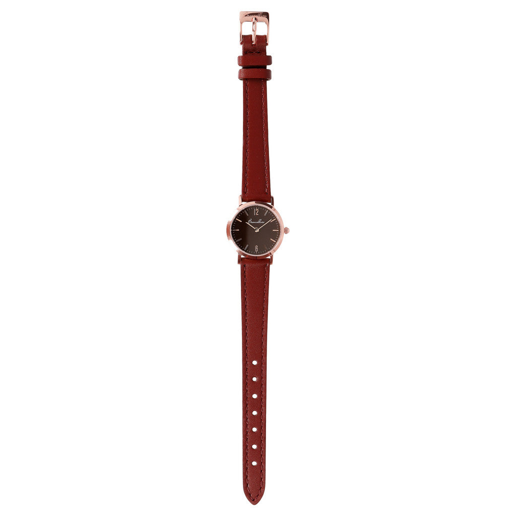 Round Watch Bordeaux Dial bracelet