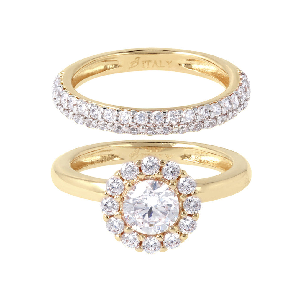 Set of Solitaire and Band Ring Bronzallure Yellow Gold setting