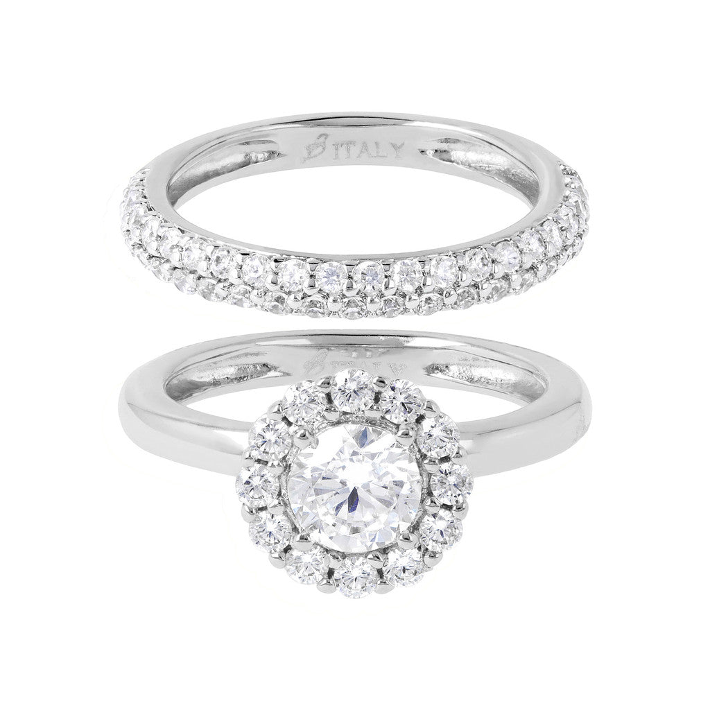 Set of Solitaire and Band Ring Luna setting
