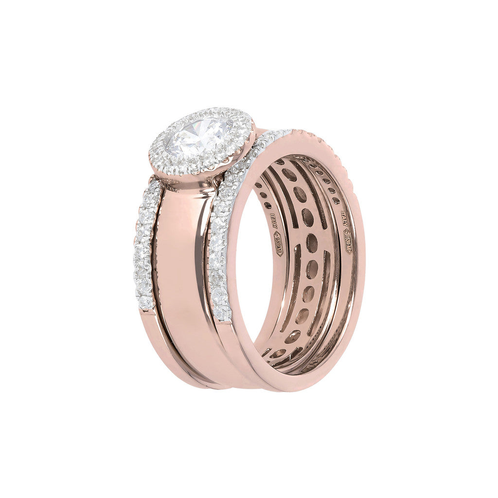 Set of Three Rings in Cubic Zirconia and Golden Rosè