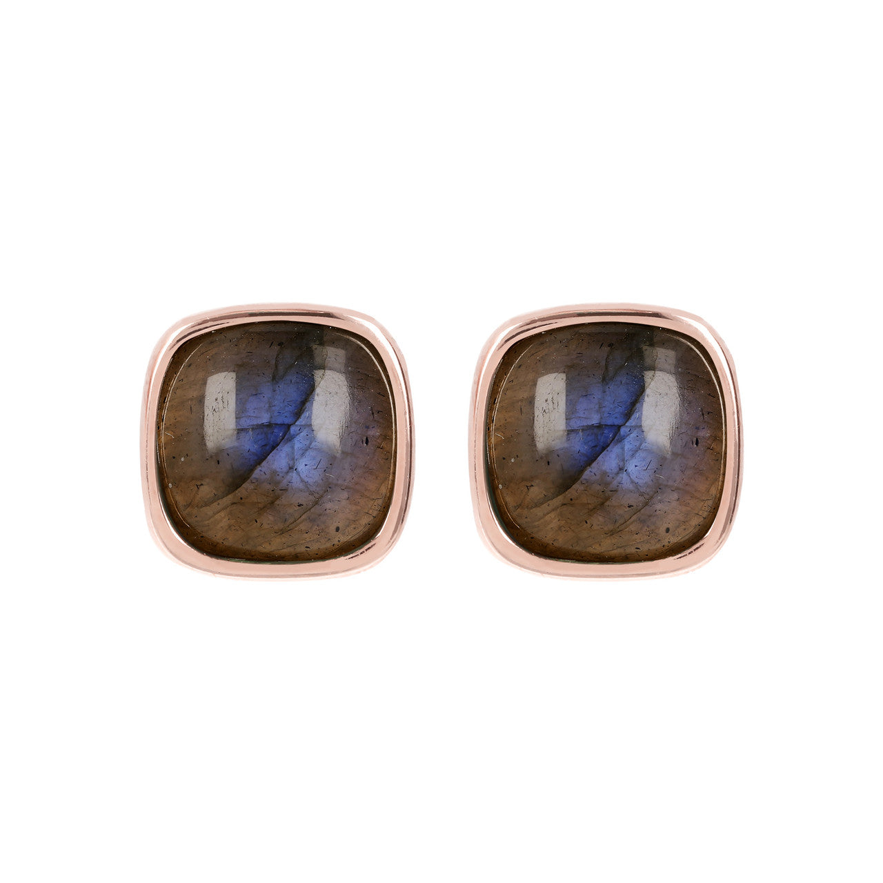 Square Bezel Set Button Earrings LABRADORITE