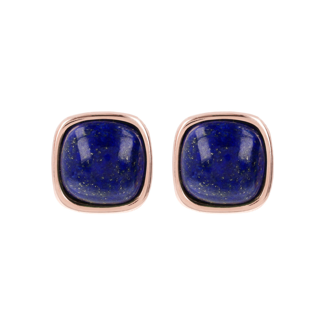 Square Bezel Set Button Earrings LAPIS