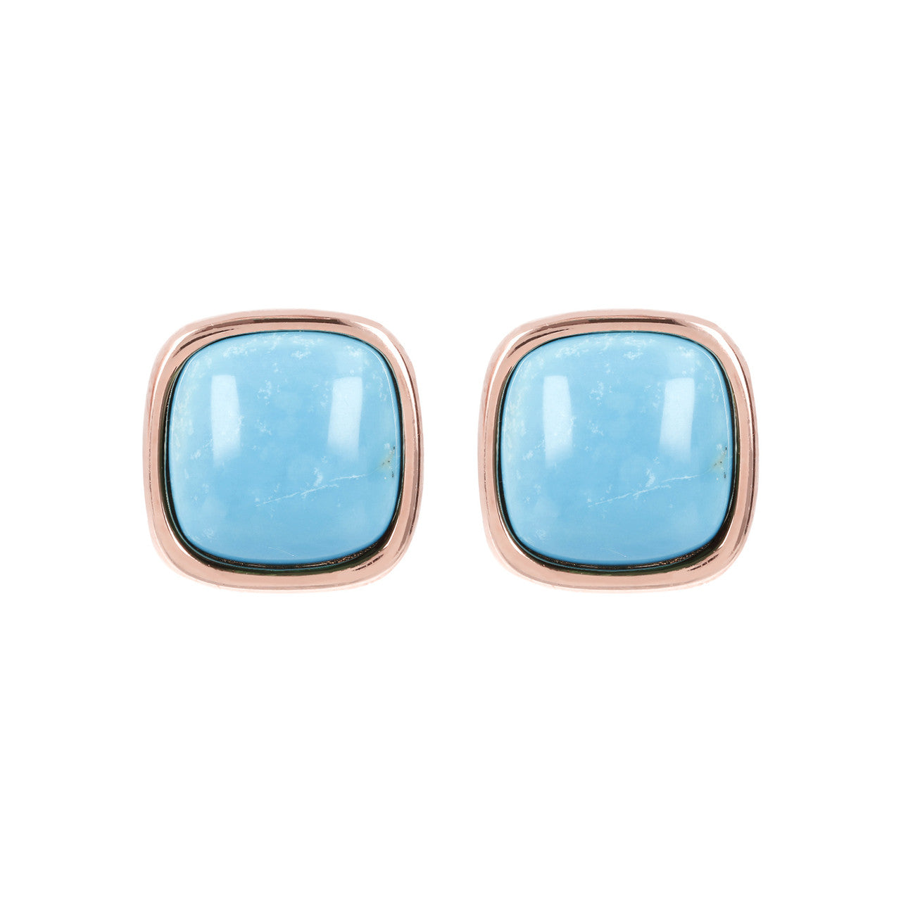 Square Bezel Set Button Earrings MAGNESITE