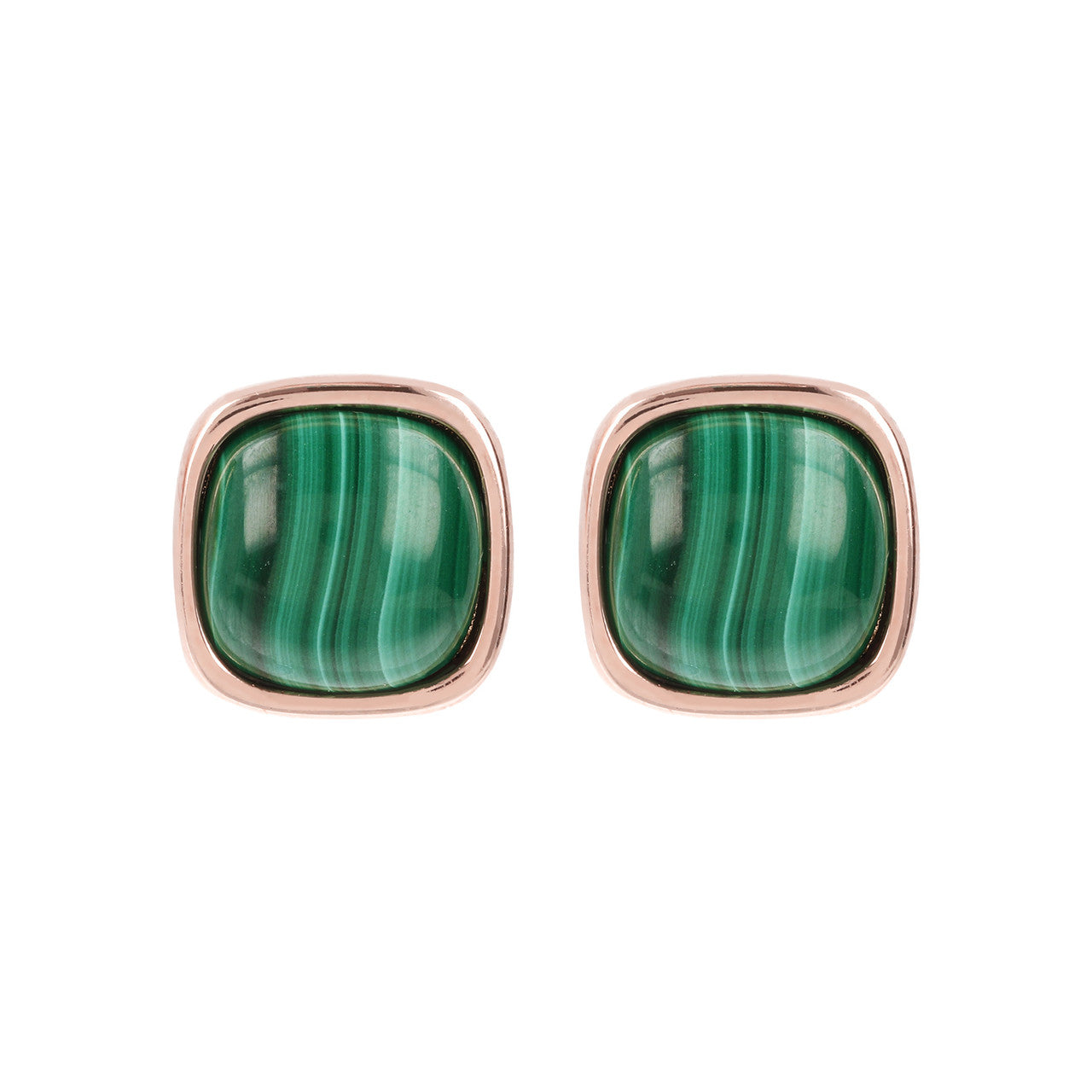 Square Bezel Set Button Earrings MALACHITE