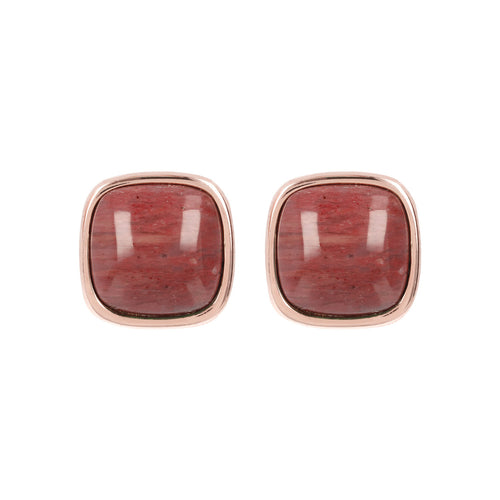 Square Bezel Set Button Earrings RED FOSSIL WOOD