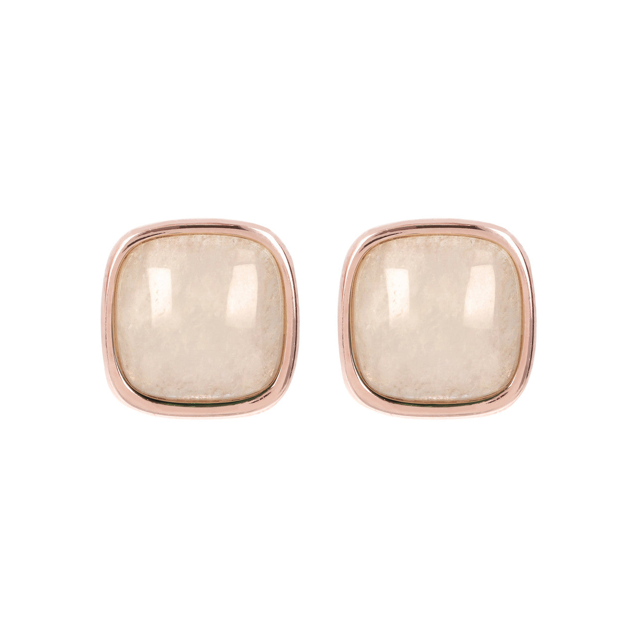 Square Bezel Set Button Earrings WHITE MOONSTONE