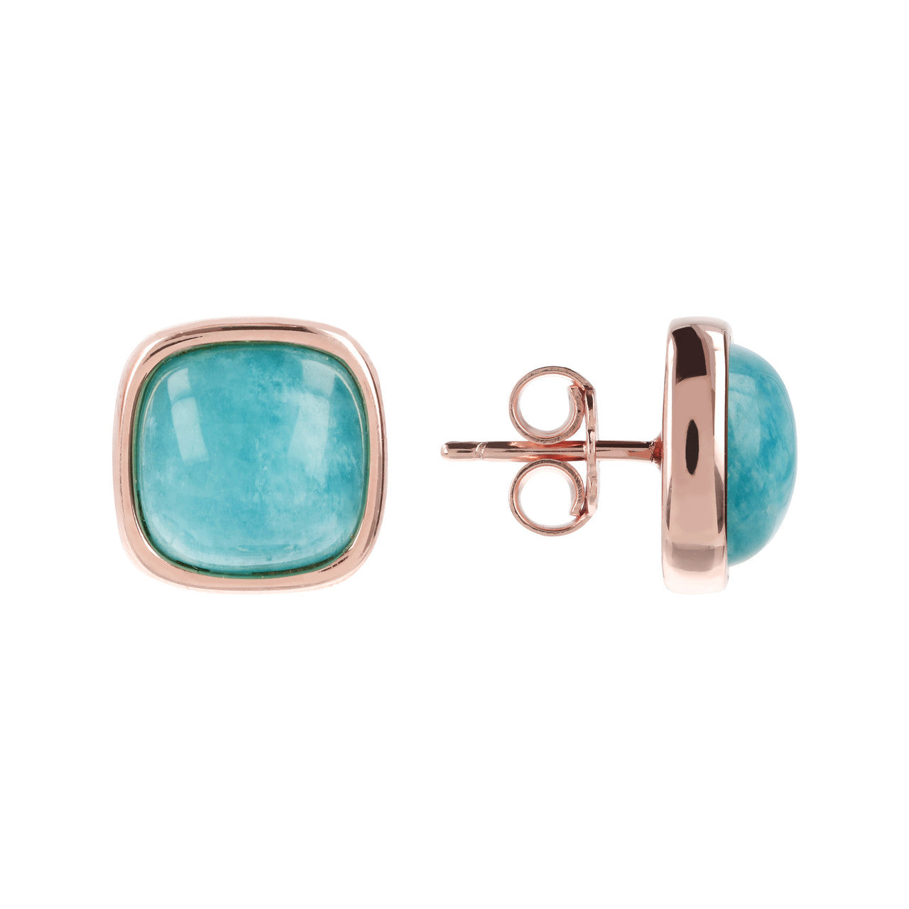 Square Bezel Set Button Earrings