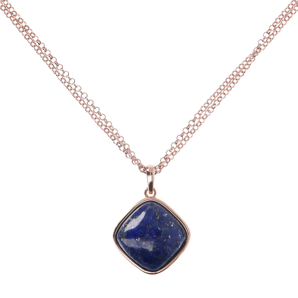 Square Bezel Set Pendant Necklace LAPIS