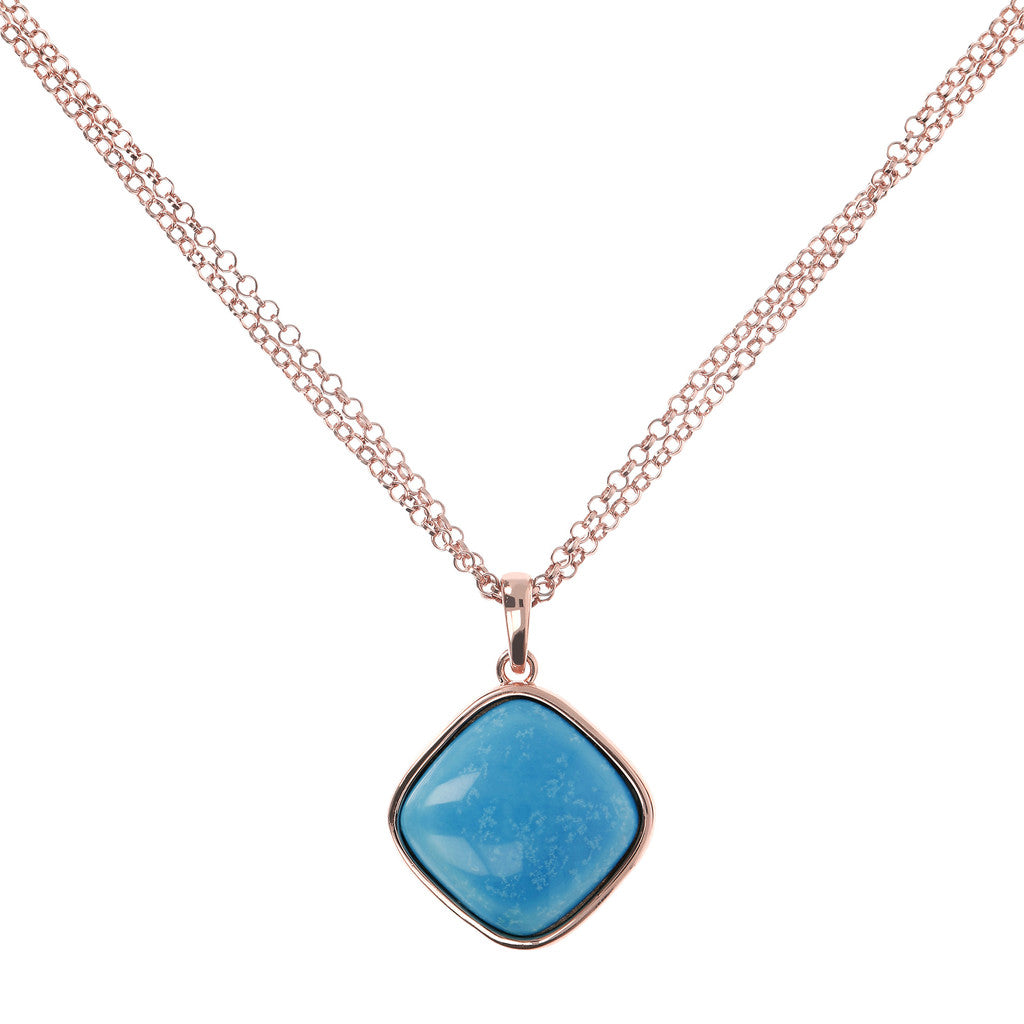 Square Bezel Set Pendant Necklace MAGNESITE