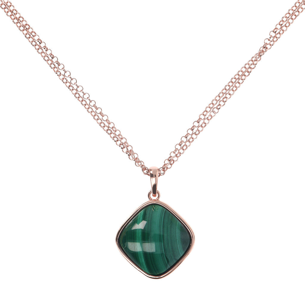 Square Bezel Set Pendant Necklace MALACHITE