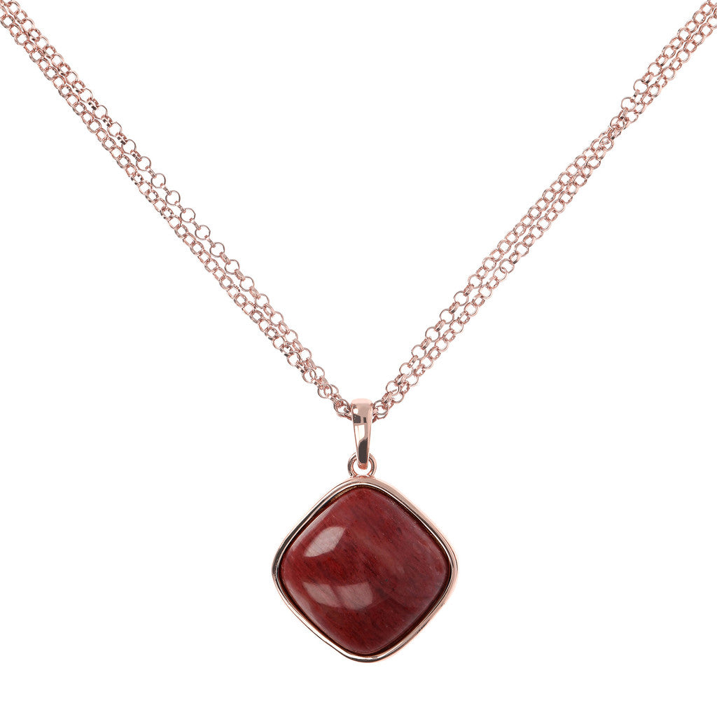 Square Bezel Set Pendant Necklace RED FOSSIL WOOD