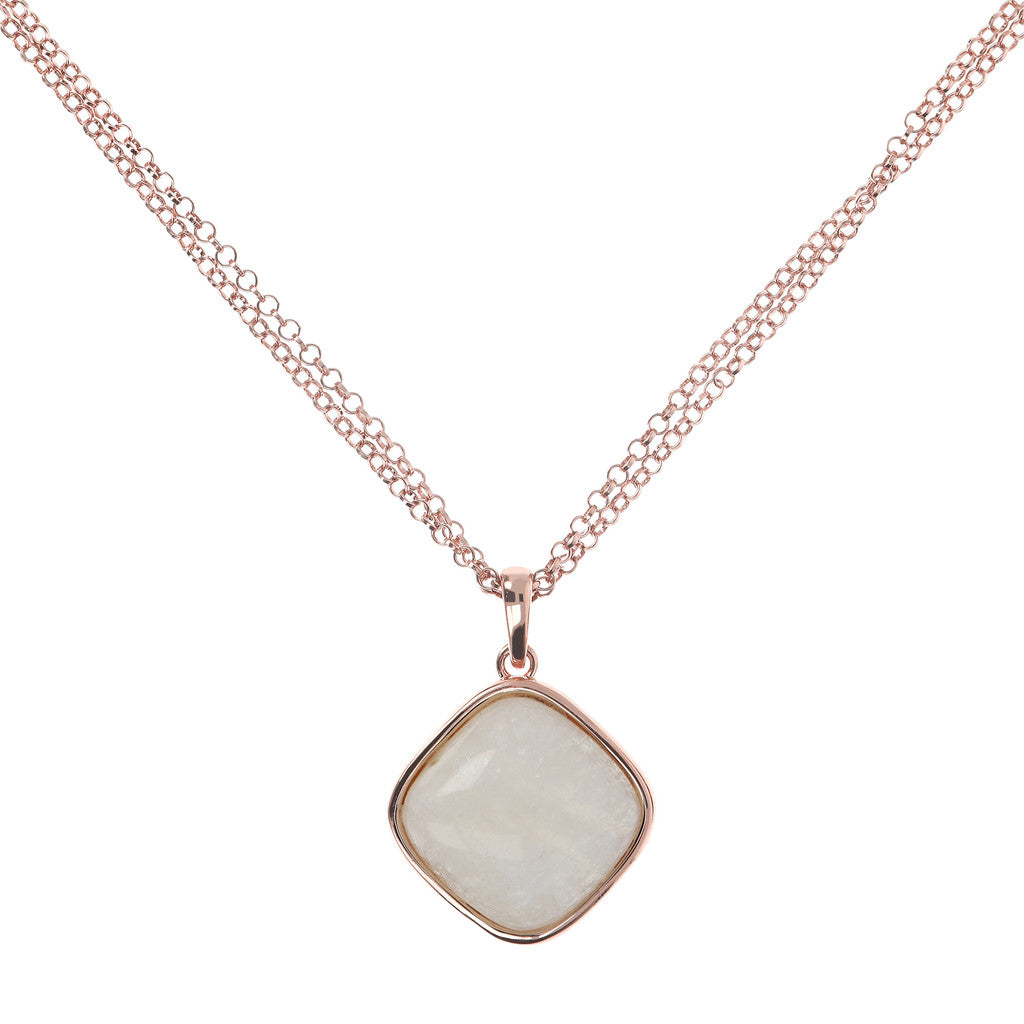 Square Bezel Set Pendant Necklace WHITE MOONSTONE
