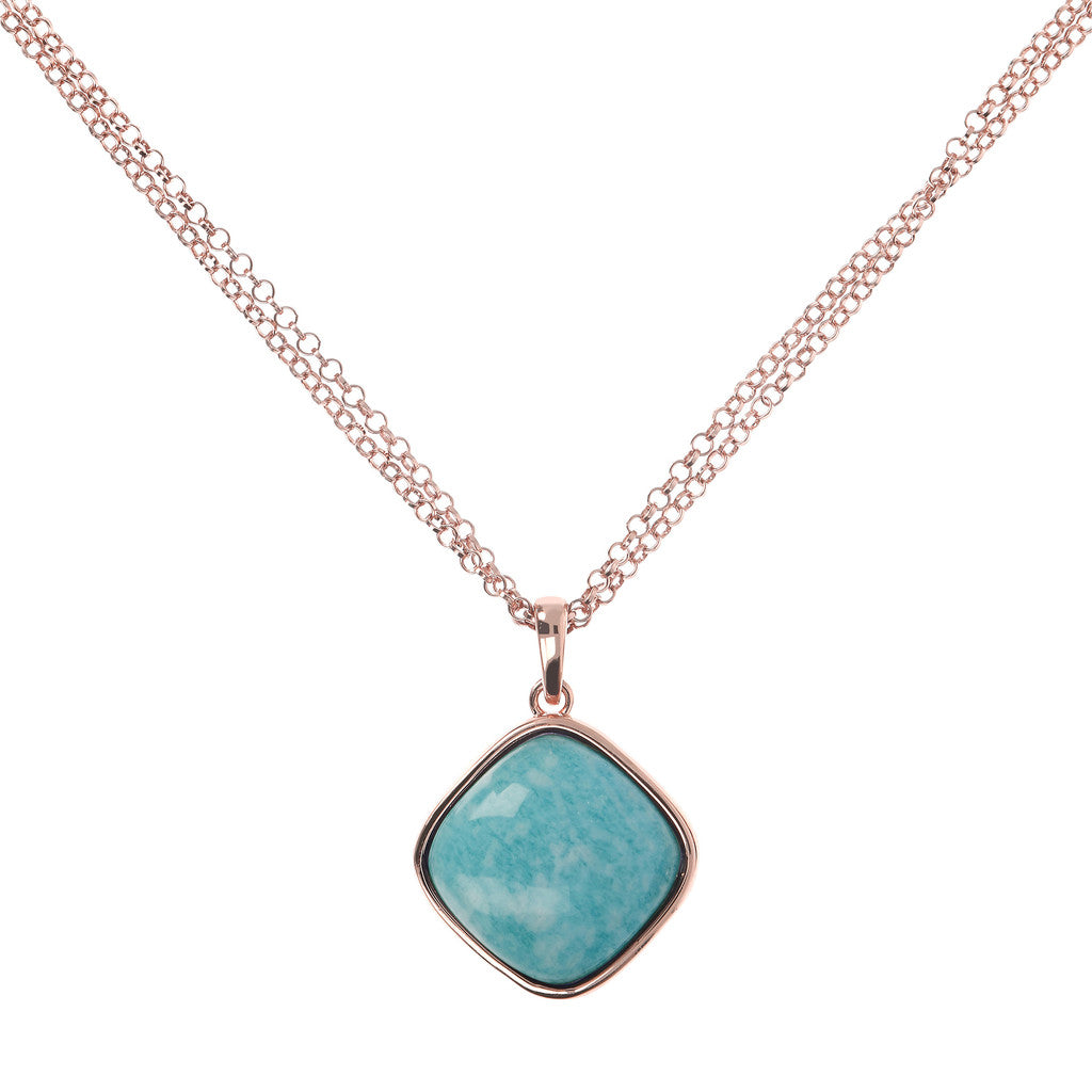 Square Bezel Set Pendant Necklace