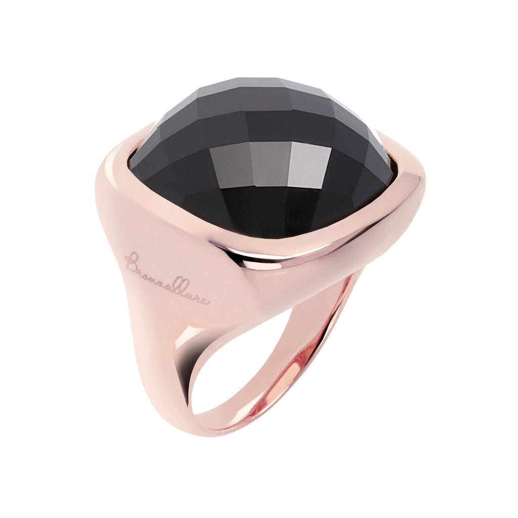 Square Ring with Faceted Stone