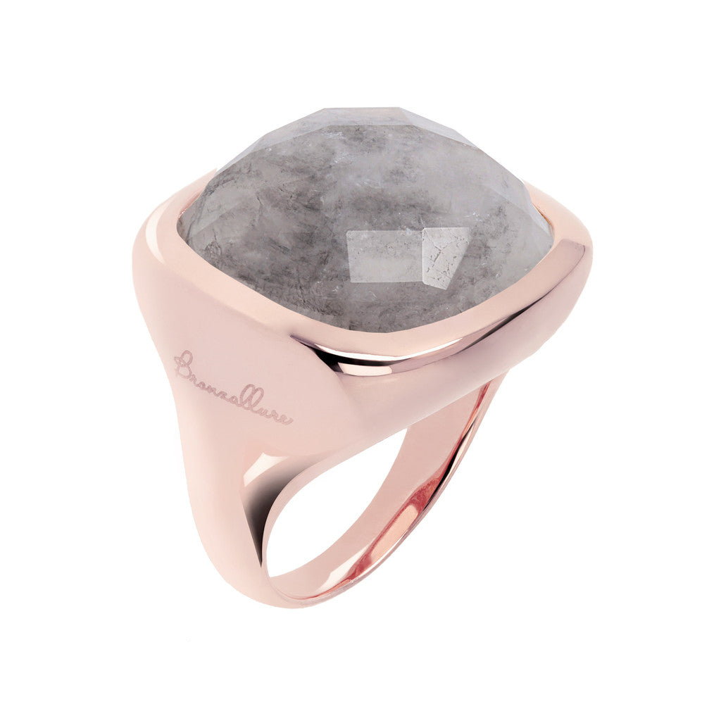 Square ring GREY QUARTZ