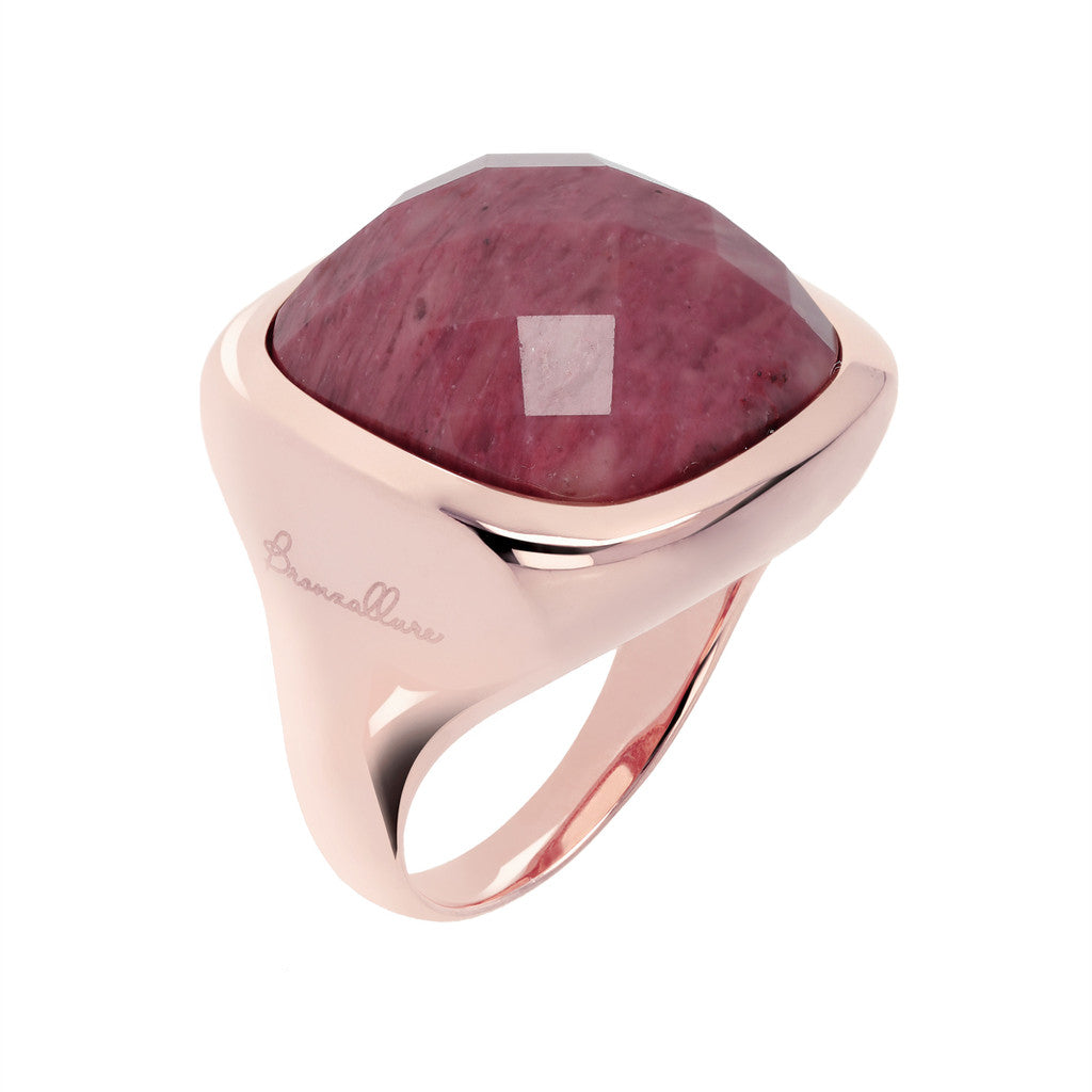 Square ring RED FOSSIL WOOD