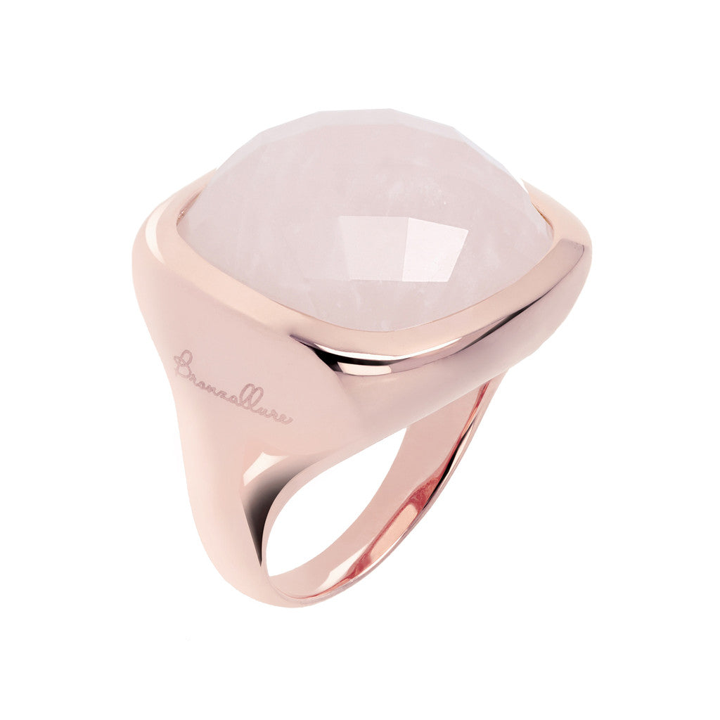 Square ring ROSE QUARTZ
