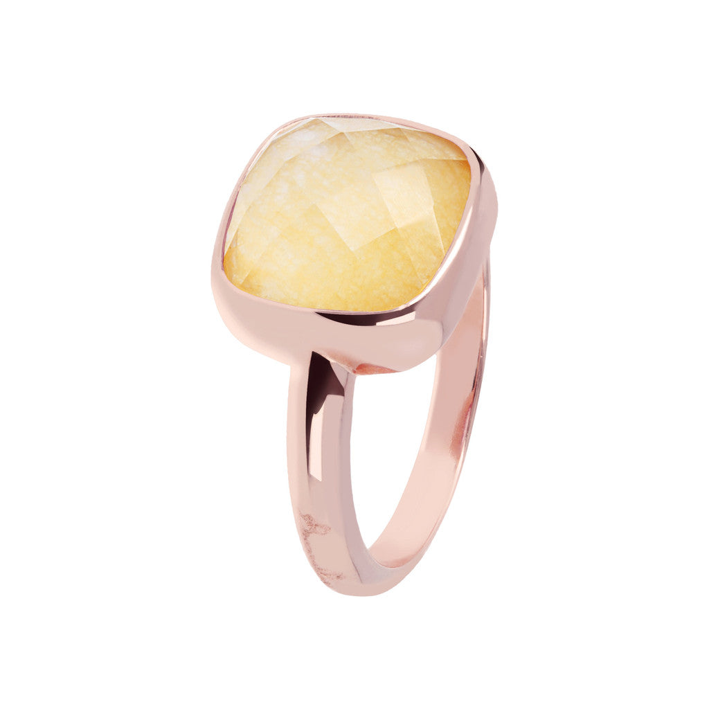 Square stone ring ORANGE QUARTZITE