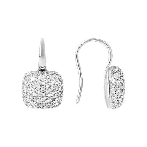 Squared Pave Hoops Luna front and side