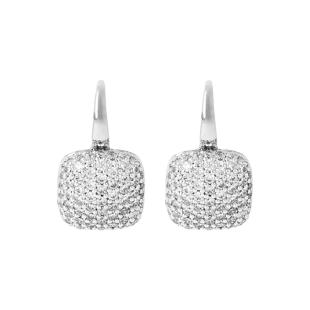 Squared Pave Hoops Luna