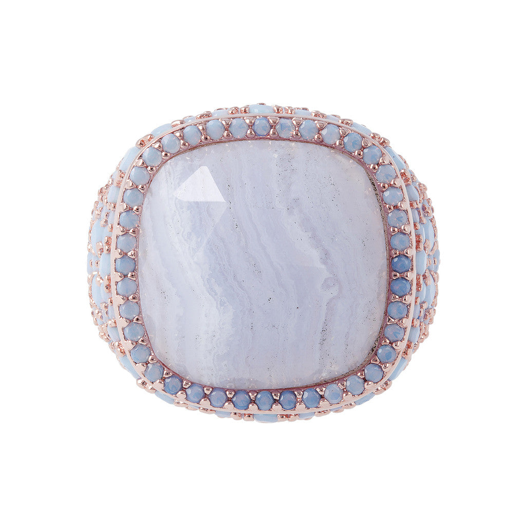 Statement Ring BLUE LACE AGATE setting