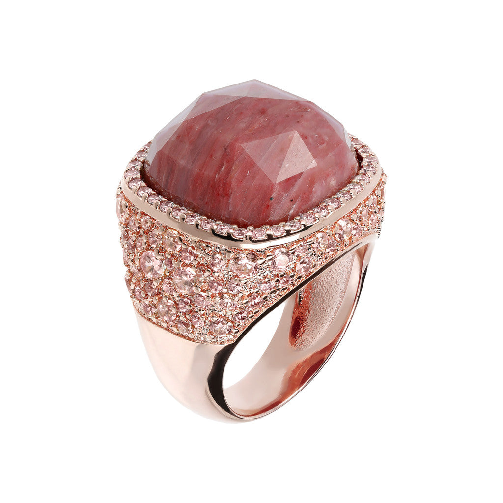 Statement Ring RED FOSSIL WOOD