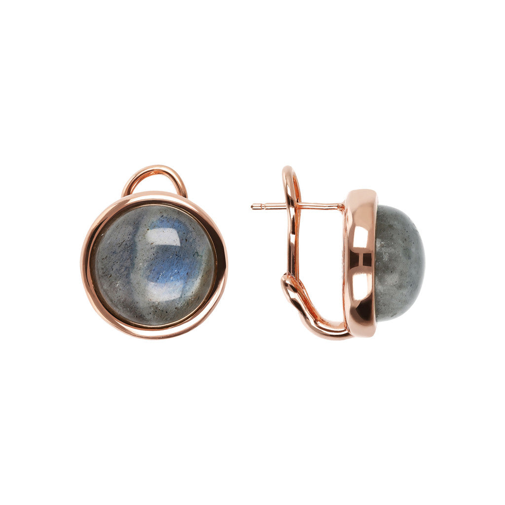 Stud Earrings with Natural Gems LABRADORITE front and side
