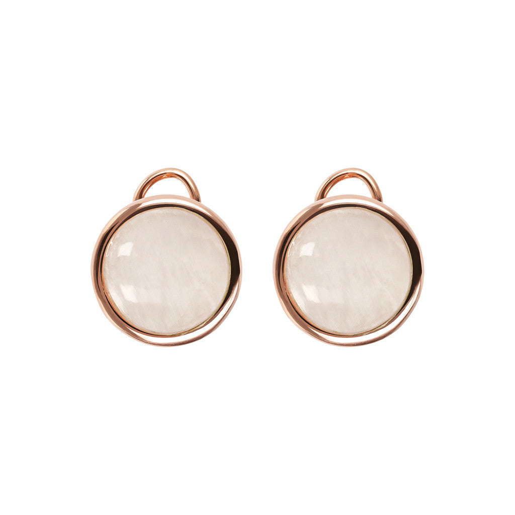 Stud Earrings with Natural Gems WHITE MOONSTONE