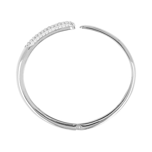 Thin Asymmetrical Bangle with CZ Luna side