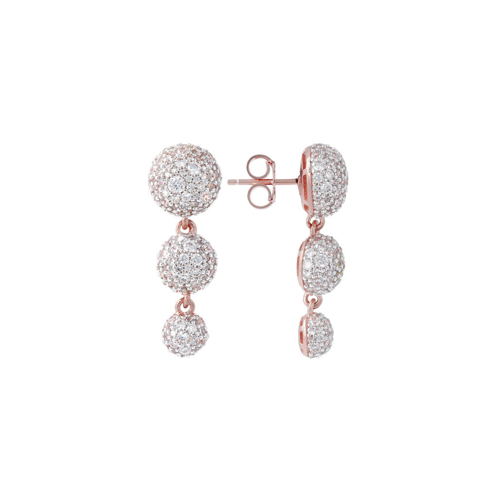 Trilogy Pave Earrings front and side