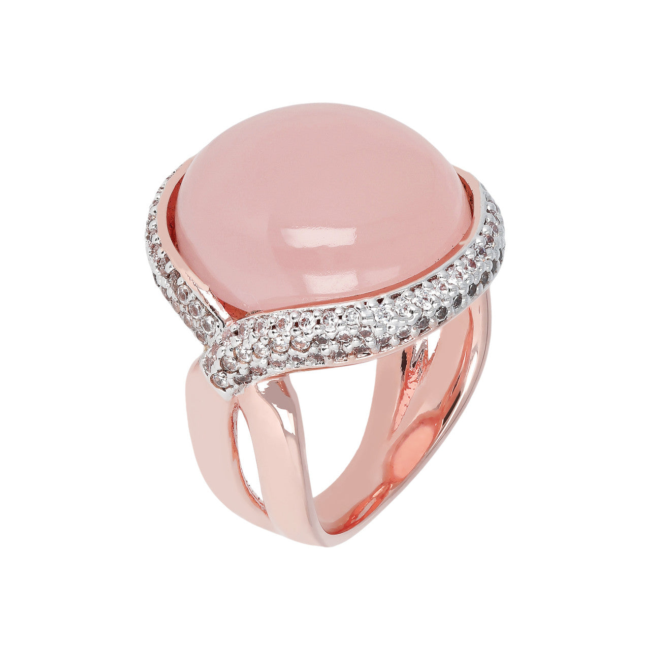 Twist Cabochon Ring PINK CHALCEDONY