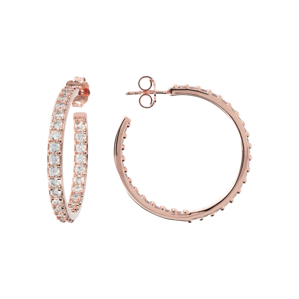 Twisted CZ Hoops front and side