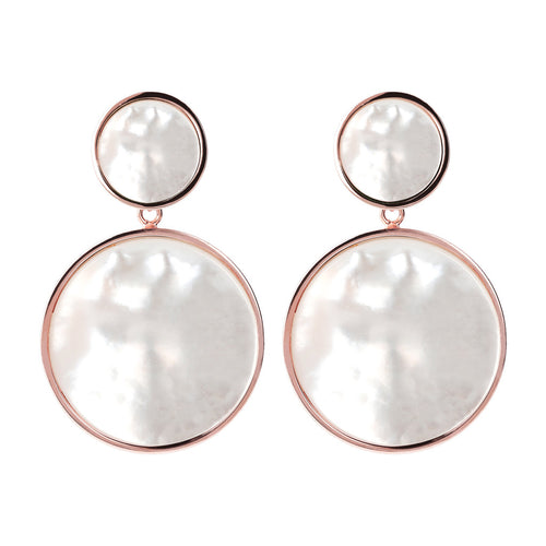 Two Discs Dangle Earrings WHITE MOP