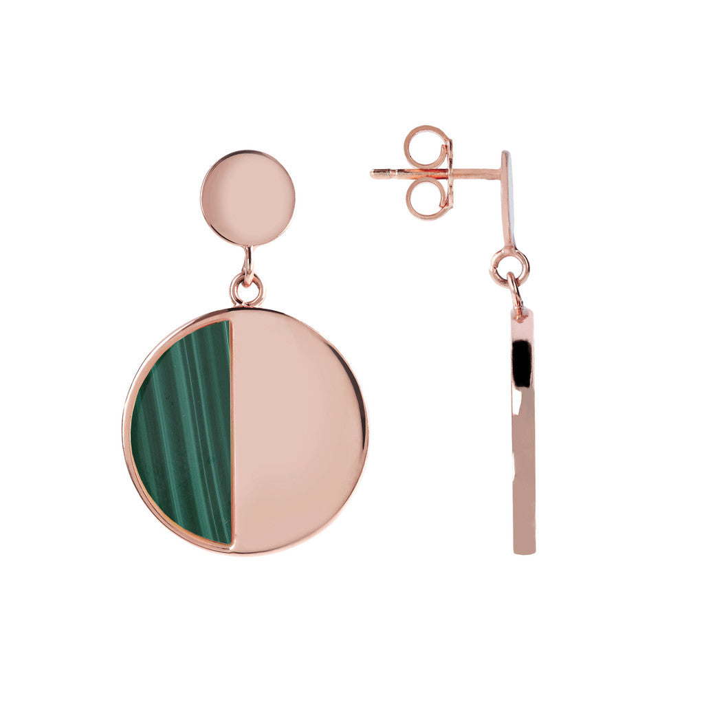 Two Tone Dangle Disc Earrings front and side