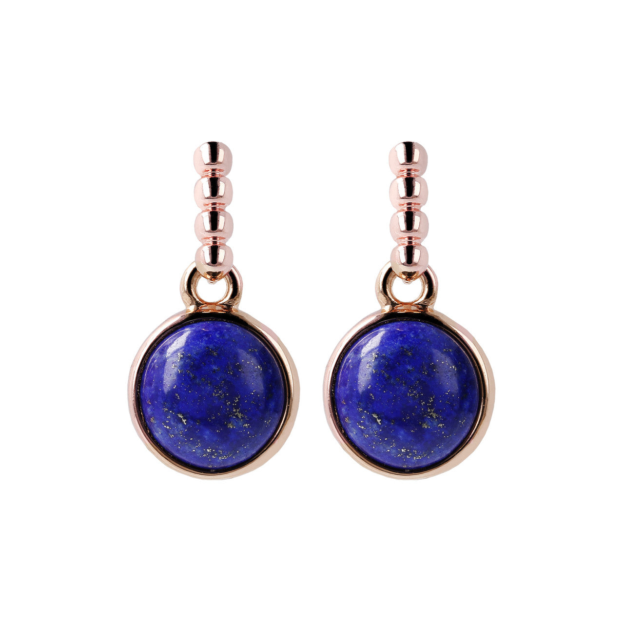 Two Tone Disc Dangle Earrings LAPIS