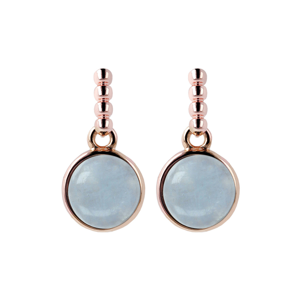 Two Tone Disc Dangle Earrings MILKY AQUAMARINE