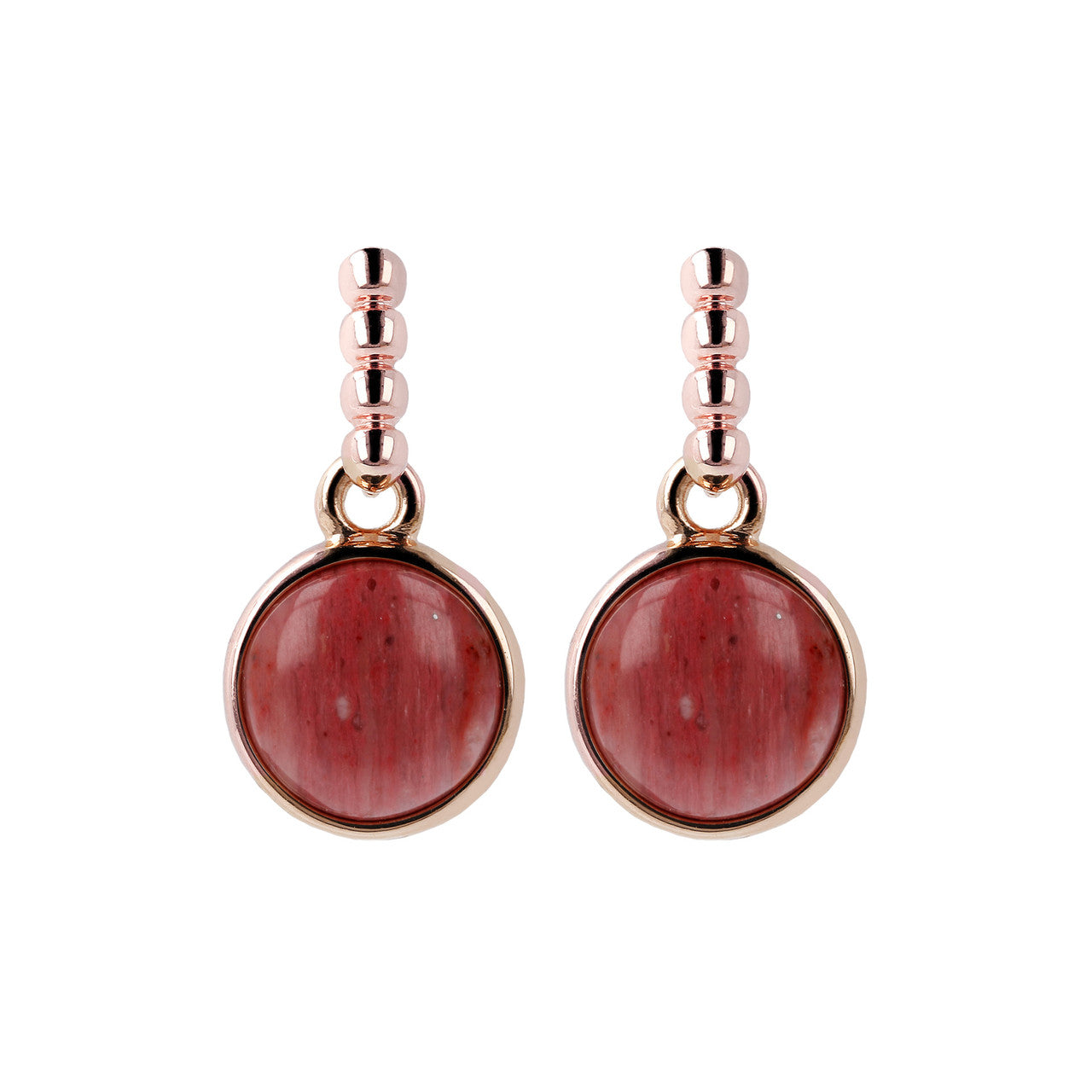 Two Tone Disc Dangle Earrings RED FOSSIL WOOD