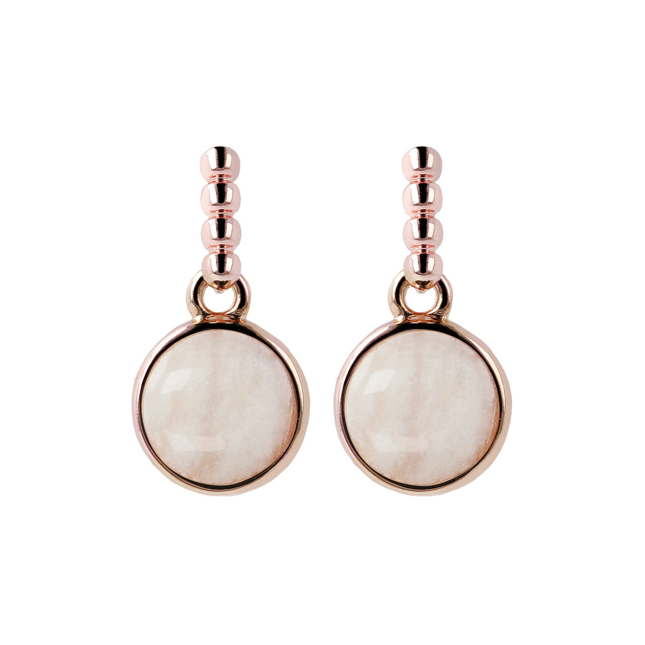 Two Tone Disc Dangle Earrings WHITE MOONSTONE