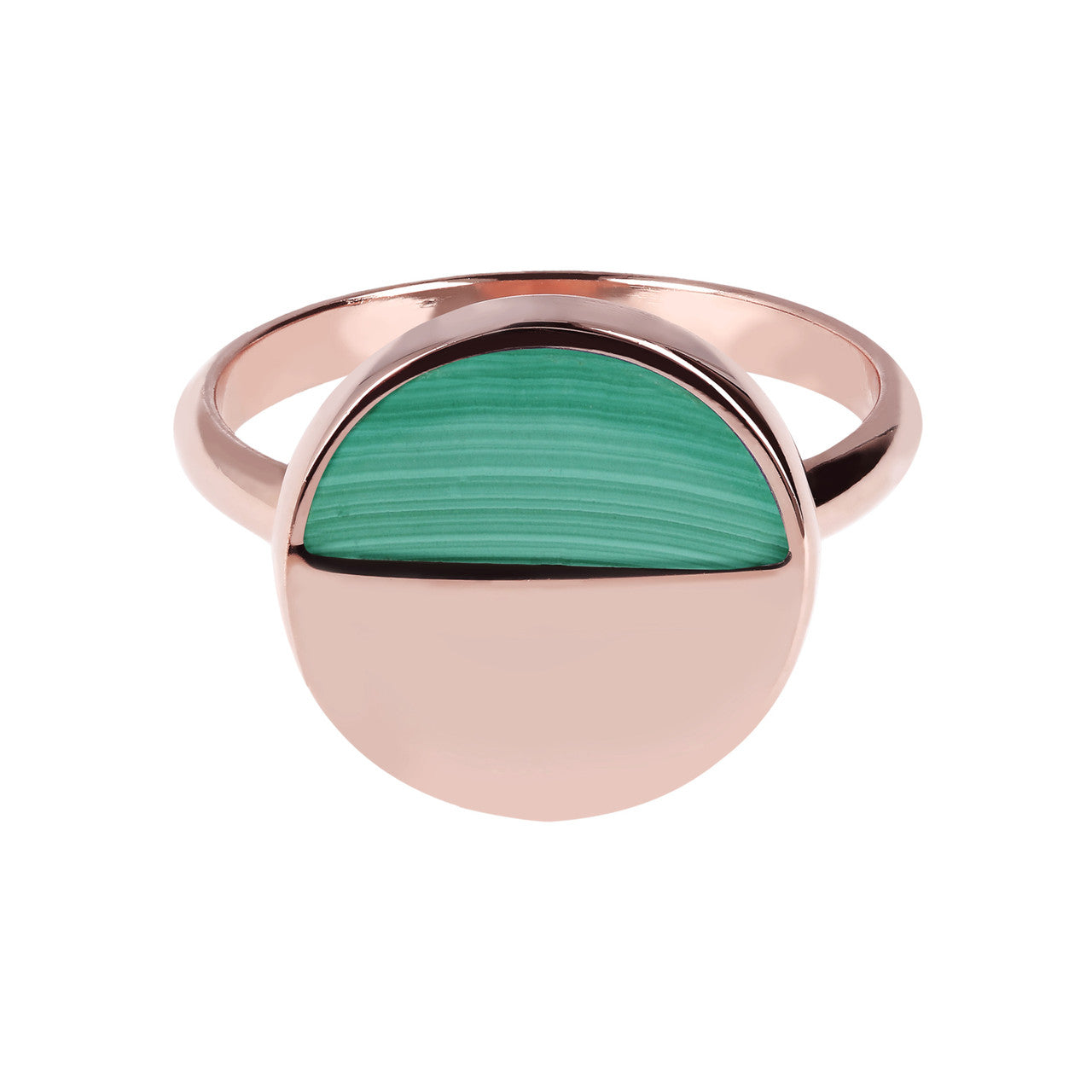 Two Tone Disc Ring MALACHITE setting